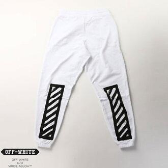 关闭白色白色斜条纹打印运动裤白色灰白色刷对角线裤子白色 008F160030260110