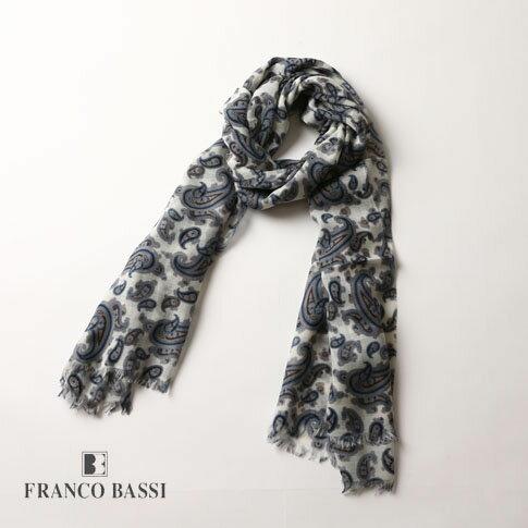 FRANCO BASSI フランコバッシ ストール ペイズリー大判ストール(70x200) ユニセックス ホワイトxパープル u16i-t05-1 全2色