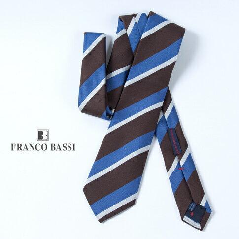 FRANCO BASSI フランコバッシ ネクタイ ダークブラウンxブルーxシルバー ストライプ(レジメンタル) ジャガード イタリア製