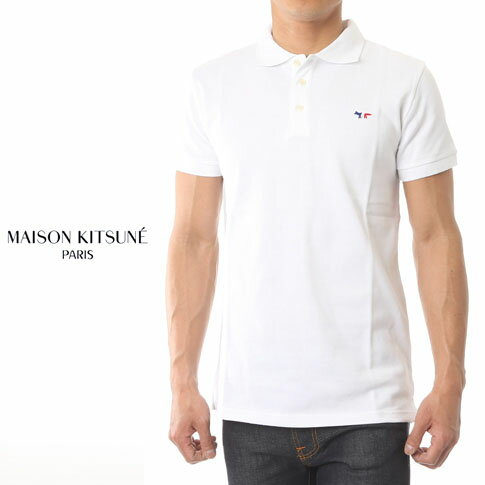 MAISON KITSUNE メゾンキツネ 鹿の子 半袖 ポロシャツ TRICOLOR PATCH POLO ホワイト am00200-at1506-wh