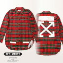 Off-White オフホワイト CHECK SHIRT + RIPS RED CHECK ALL OVER WH ダメージ加工 シャツ プリント レッドチェッ...