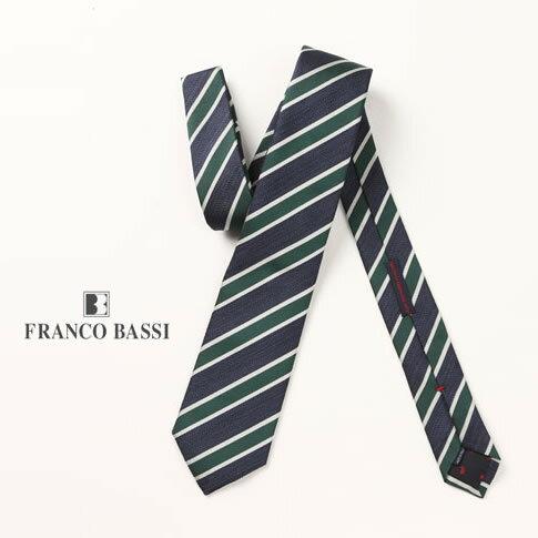 FRANCO BASSI / フランコバッシ ネクタイ ジャガードタイ ネイビーxグリーン ストライプ柄 u16i-b22-h-4
