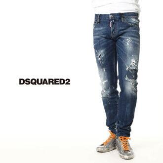 disukueado/DSQUARED2/disukueadojinzu/SLIM JEAN/油漆&损伤加工牛仔裤伸展牛仔裤/Slim Bottom s74lb0080