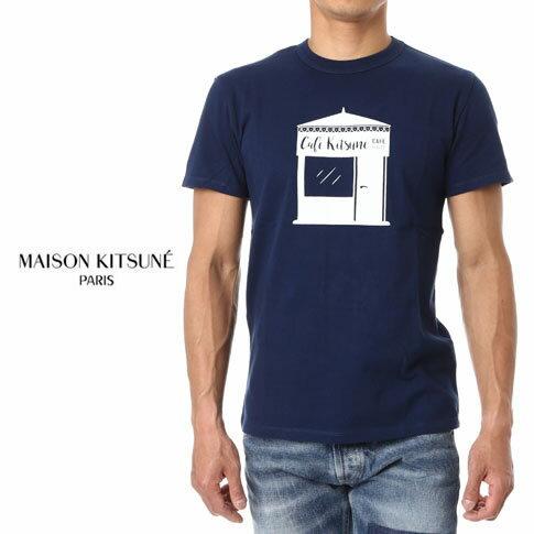 【スーパーバリュー】MAISON KITSUNE メゾンキツネ 半袖 Tシャツ TEE SHIRT KIOSQUE ss17m717-db ダークブルー