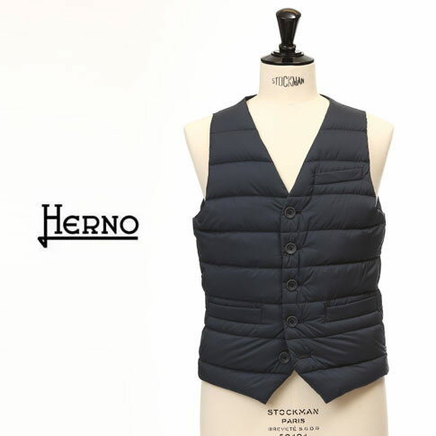 HERNO / ヘルノ メンズ シングル ダウンベスト ダークネイビー インナーダウンベスト LEGEND Il Panciotto pi002ule-9200
