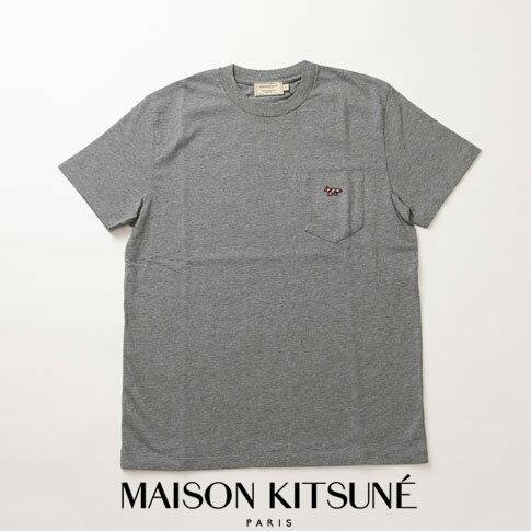 MAIZON KITSUNE メゾンキツネ Tシャツ ヘビーオンス Tシャツ キツネ刺繍 ダークグレーメランジ 全3色 am00114-at1515-dgm