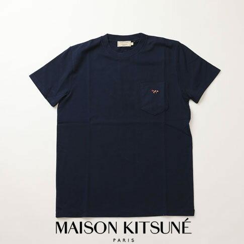 MAIZON KITSUNE メゾンキツネ Tシャツ ヘビーオンス Tシャツ キツネ刺繍 ネイビー 全3色 am00114-at1515-na