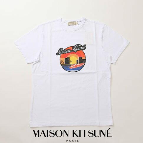 MAIZON KITSUNE メゾンキツネ Tシャツ サンセットプリントホワイト am00115-at1501-wh