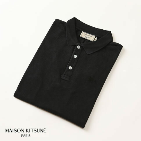 MAISON KITSUNE メゾンキツネ 鹿の子 半袖 ポロシャツ ブラック am0202at-1512-bk