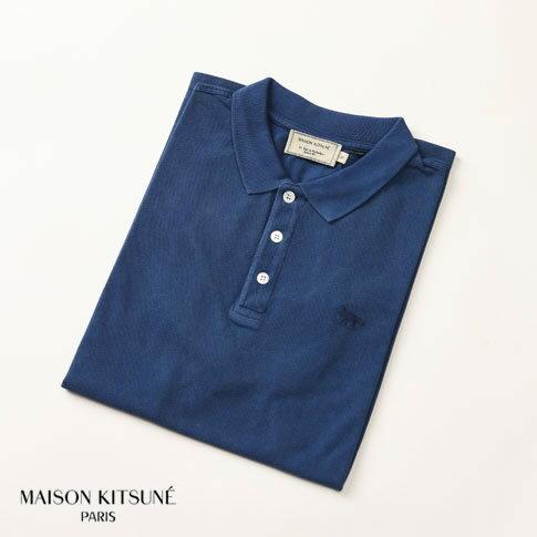 MAISON KITSUNE メゾンキツネ 鹿の子 半袖 ポロシャツ ブルー am0202at-1512-bl
