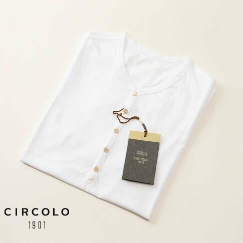 チルコロ CIRCOLO 1901 ヘンリーネック 半袖 Tシャツ SERAFINO JERSEY ホワイト cn1816-bianco
