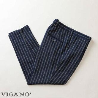 VIGANO ヴィガーノパンツコットンパンツブルーストライプ 7017-868