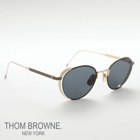 トムブラウン メガネ THOM BROWNE サングラス black enamel 12k gold w/dark grey EYEWEAR tb-106-a