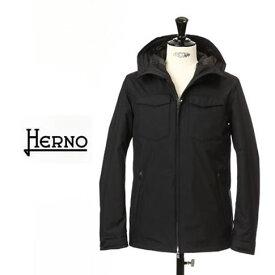 【2020半期決算セール】HERNO / ヘルノ メンズ Laminar(ラミナー)マウンテンパーカー フーテッド ダウンジャケット ラミナー ゴアテックス 撥水 ブラック GORETEX PI120UL 9300