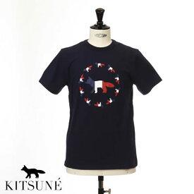 MAISON KITSUNE メゾンキツネ 半袖 Tシャツ トリコロールカラーフォックス Tシャツ NAVY ネイビー 0104kj-0010-nany