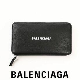 バレンシアガ 財布 BALENCIAGA 長財布 EVERYDAY ラウンドファスナー スムースレザーウォレット レディース メンズ ユニセックス Black/White 579643 DLQ4N 1000