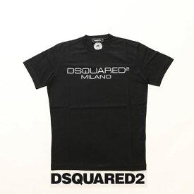 【Flying SALE開催!】ディースクエアード / DSQUARED2 / ディースクエアード 半袖 Tシャツ DSQUARED2 旧ロゴプリント クルーネックTシャツ カットソー ブラック s74gd0644-900