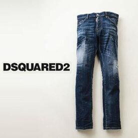 DSQUARED2 ディースクエアード メンズ SKATER JEAN ペイント加工 ダメージ&リペア デニムパンツ スリム テーパード ストレッチ s74lb0673-470