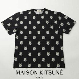 【2021 クリアランス】MAISON KITSUNE メゾンキツネ オーバサイズ 半袖 Tシャツ ブラック TEE-SHIRT ALL-OVER PASTEL FOX HEAD EU00139KJ0010-BK