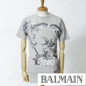 最終値下げクリアランスセールPIERRE BALMAIN ピエール バルマン 女神&天使プリントコットンxストレッチ ダメージ加工 Tシャツ グレー5m2705-001