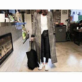 レディース グレンチェック柄 チェスター コクーンコート 超ロングコート 大きいサイズ