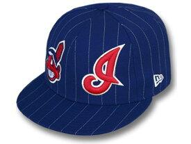 NEW ERA CLEVELAND INDIANS 【BIG-ONE DOUBLE WHAMMY/NAVY】 ニューエラ クリーブランド インディアンス 59FIFTY フィッテッド キャップ FITTED CAP [ウール WOOL 帽子 ヘッドギア cap キャップ 大きい サイズ メンズ レディース 16_2_1 16_2_2 16_2RE]