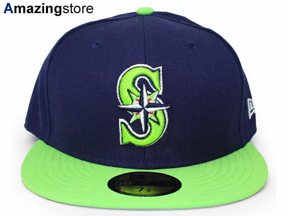 NEW ERA SEATTLE MARINERS 【OPPOSITE 2T TEAM-BASIC/NAVY-LIME GRN】 ニューエラ シアトル マリナーズ 59FIFTY FITTED CAP フィッテッド キャップ MLB ネイビー LIME GREEN ライムグリーン [帽子 new era cap ニューエラキャップ 17_1_5 17_2_1 17_2RE]