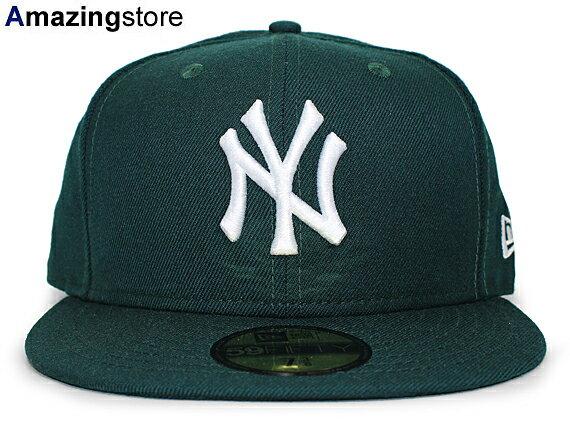 NEW ERA NEW YORK YANKEES 【TEAM-BASIC/DK GREEN-WHITE】 ニューエラ ニューヨーク ヤンキース 59FIFTY フィッテッド キャップ FITTED CAP グリーン×ホワイト 11308554 [帽子 NENYY MLB 17_2RE]