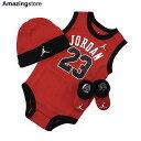 【あす楽対応】【子供用】ジョーダンブランド ロンパース 【JORDAN 23 JERSEY HAT & BOOTIES 3-PIECE INFANT SET/RED…