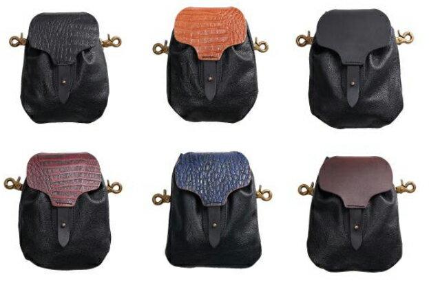 【w-78】Leather Draw Bag クロコブラック/クロコブラウン/クロコレッド/クロコブルー/ブラック/ブラウン ハーレーアパレル