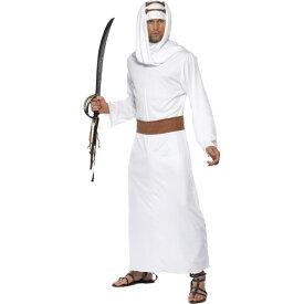 アラビアのロレンス風 衣装、コスチューム 大人男性用 白 アラブ民族衣装ガウン
