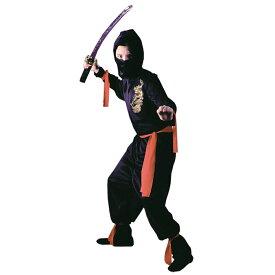 忍者 衣装、コスチューム 子供男性用 和風 BLACK NINJA コスプレ