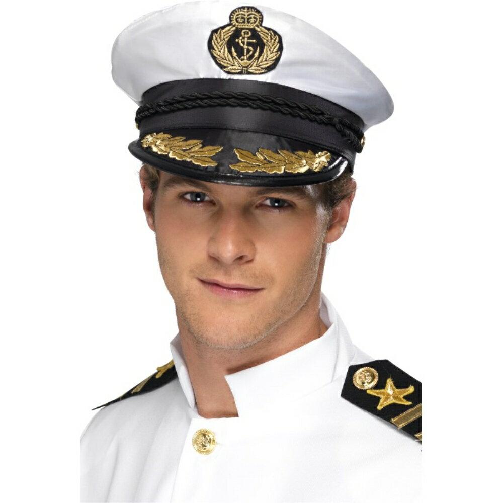 帽子 白 黒 海軍風 ヘアアクセサリー 艦長 大人男性用 Captain Hat