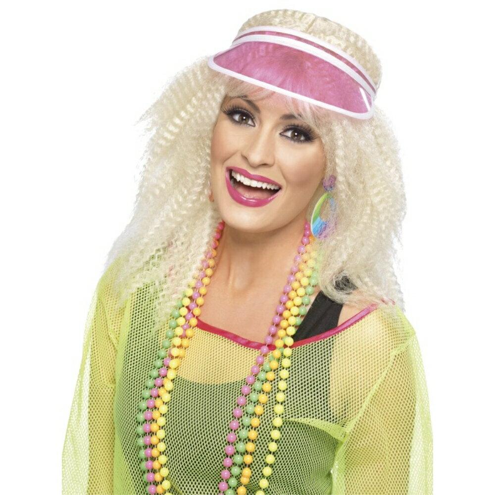 サンバイザー ピンク 1980年代風 帽子 アクセサリー 大人女性用 Poker Visor