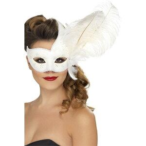 ベネチアンマスク 白 コロンビア風 パーティー 大人女性用 Ornate Columbina Eyemask コスプレ