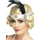 ヘッドバンド シルバー フラッパー風 羽根 大人女性用 Silver Satin Charleston Headband コスプレ