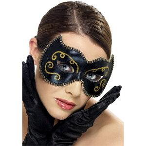 ベネチアンマスク 黒 ペルシャ風 パーティー 大人女性用 Persian Eyemask コスプレ