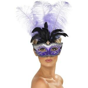 ベネチアンマスク 紫 黒 パーティー 大人女性用 Venetian Colombina Eyemask コスプレ