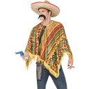 メキシコ人 衣装、コスチューム ポンチョ 大人男性用 Poncho Instant Kit