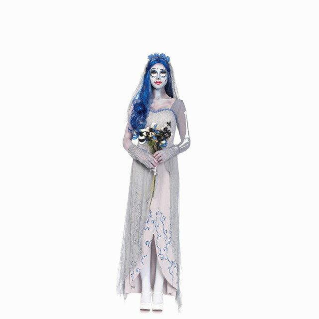コープスブライド エミリー ウィッグつき 衣装、コスチューム 大人女性用 ハロウィン仮装 4PC.Corspe Bride
