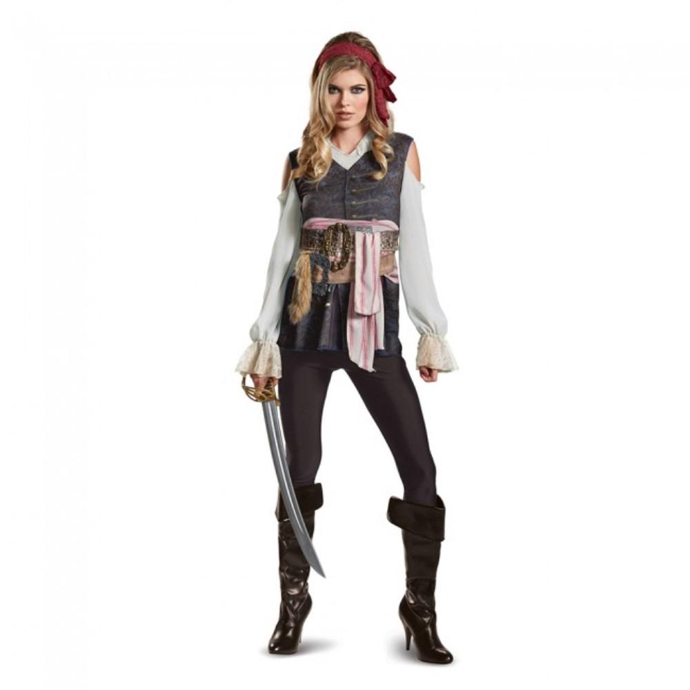 ジャックスパロウ Classic 「パイレーツ・オブ・カリビアン/最後の海賊」 衣装、コスチューム 大人女性用 Potc5 Captain Jack Female Classic Adult