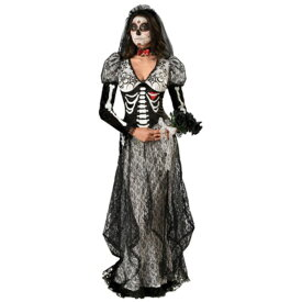 Boneyard Bride 骸骨 ドクロ 衣装、コスチューム 大人女性用 花嫁 ホラー HQ