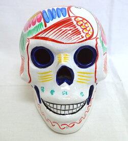 エルパソ 2014 セラミック メキシカンスカル 陶磁器 ハンドプリント 瀬戸物 置物 髑髏 ホワイト色 Mサイズ 送料無料