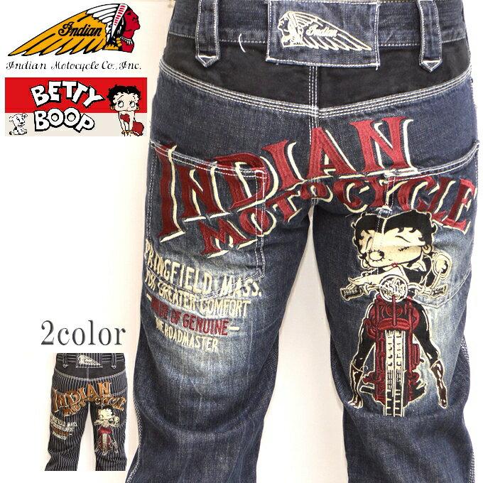 インディアンモトサイクル ベティブープ Indian Motocyacle BBI-814 デニムパンツ インディゴユーズド色 BETTY ジーンズ 送料無料