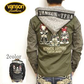 VANSON バンソン×クローズ WORST CRV-838 ツイルワークシャツ オリーブ色 長袖 シャツ 脱着フード T.F.O.A 武装戦線 送料無料 新作