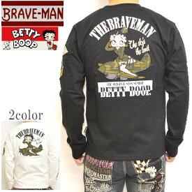 ブレイブマン ベティブープ BBB-2103 天竺 長袖Tシャツ ロンT BRAVE MAN BETTY BOOP トップス バイカー バイク メンズ 送料無料