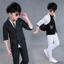 子供スーツ ストライプ ブラック/ホワイト キッズスーツ キッズ服 男の子衣装 ズボン、ジャケット 2色2点セット…