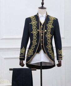 2色入荷 メンズ スーツ スーツセット 上下セット タキシード メンズ タキシード 刺繍 演出服 華麗な王族服 王子様 ヨーロッパ風 復古風 コスプレ衣装 宮廷服