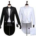女性/男性メンズフォーマル スーツ 燕尾服 結婚式/パーティ/司会 スーツ/ズボン/蝶タイ/カマーベルト/シャツの5点…