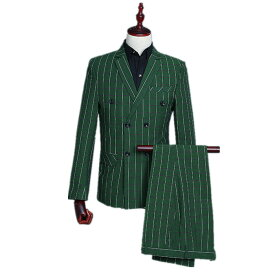 ストライプ メンズ スーツ スーツセット 上下セット セットアップ グリーン 3点セット 花柄 メンズ タキシード メンズ タキシード パンツ 演出服 ベスト付き 司会